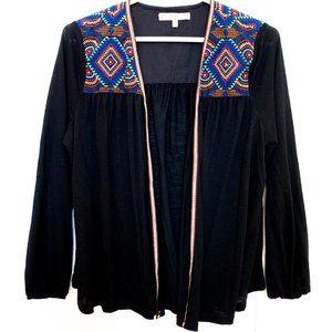 ezra loose-fit black cardigan geo print 3/4 sleeve